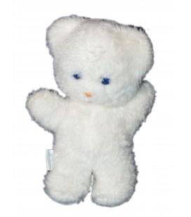 Doudou peluche OURS blanc BOULGOM Grelot Yeux bleus 22 cm