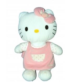 Peluche doudou HELLO KITTY - Robe rose pois - Sanrio Jemini - H 28 cm