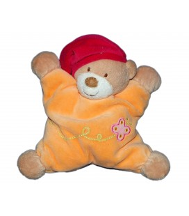 Doudou coussin semi plat - OURS orange bonnet rouge - NATTOU Jollymex - Grelot