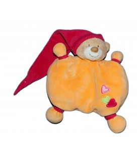 Doudou coussin semi plat - OURS orange Coeurs bonnet rouge - NATTOU Jollymex - Grelot