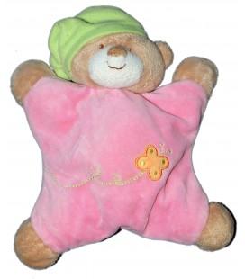 Doudou coussin semi plat - OURS rose Papillon Bonnet Vert - NATTOU Jollymex - Grelot