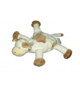 Doudou VACHE blanche taches marrons NATTOU Jollymex L 22 cm