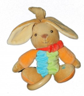 KALOO - Lapin Doudou Peluche Musicale Accordeon Orange vert bleu