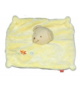 Doudou plat OURS jaune - TEX - Carrefour Fleur orange