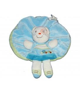 Doudou plat rond - CHAT bleu blanc - Kitchoun Kiabi Nicotoy 6782