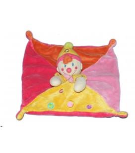 NICOTOY Doudou plat Clown Lutin rose jaune orange ronds