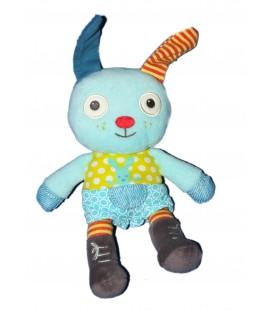 Doudou lapin bleu vert Pommette Intermarché 24 cm