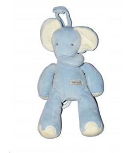 Doudou peluche Musicale - ELEPHANT bleu - BABYSUN - H 26 cm