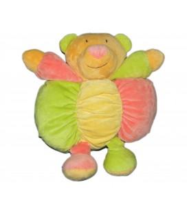 Doudou peluche - OURS Vert jaune rose - BABYSUN - Grelot - H 30 cm