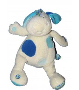 Doudou peluche - CHEVAL Poney - Blanc bleu - BABYSUN - Grelot - H 24/36 cm