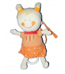 Doudou Peluche musicale - POUPEE FILLE - Orange- BABYSUN - H 26 cm