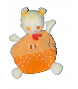 Doudou plat - POUPEE FILLE - Orange- BABYSUN