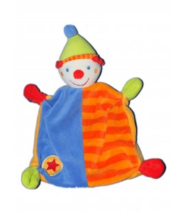 Doudou plat - CLOWN Bleu orange BABY CLUB BabySun C et A