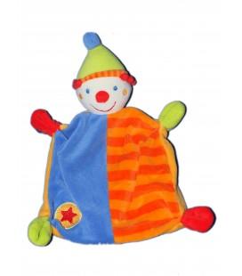 Doudou plat - CLOWN Bleu orange BABY CLUB BabySun C et A