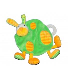 Doudou plat - LAPIN orange vert BABYSUN - Grelot - Anneau dentition