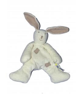 Doudou peluche - LAPIN blanc beige - BABYSUN - H 22 cm
