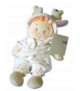 Doudou Lutin Garçon déguisé en vache Taches marrons beiges - H 26 cm - NICOTOY 579/6649