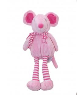 Doudou peluche souris rose Arthur et Lola Bebisol rayures blanches echarpe 35 cm
