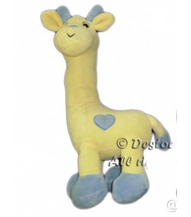 Doudou Girafe Arthur et Lola jaune beige Coeur Bleu Grelot 32 cm GINGO Biloba