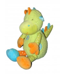 Doudou peluche - DRAGON vert orange Bleu - BABYSUN - H 26/35 cm