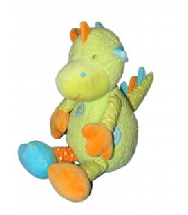 Doudou peluche Dragon vert orange Bleu Orchestra Babysun 26/35 cm