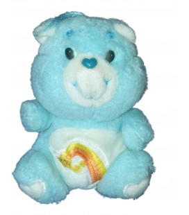 Vintage - Peluche BISOUNOURS CARE BEARS Plush Grosfaceur Gailourson Cheer Bear BEAR Bleu Arc en Ciel KENNER 16 CM