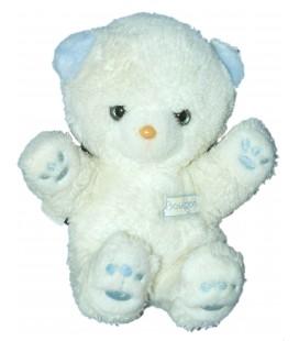 Doudou peluche OURS blanc bleu BOULGOM Yeux bleus assis 20 cm