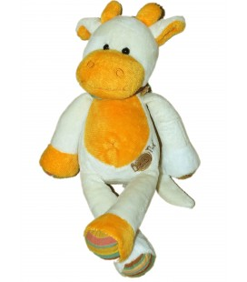 Doudou VACHE blanche orange - BABY NAT Babynat - H 27 cm