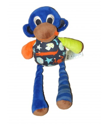 doudou singe bleu jaune orange - h & m baby 31 cm