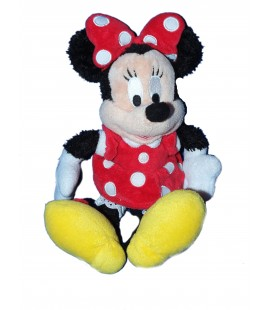 Doudou peluche MINNIE Robe rouge pois blancs Longs poils - Disney - H 28 cm