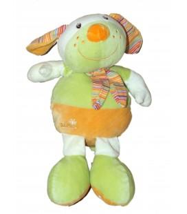 Doudou peluche chien lapin vert orange Baby Sun Rigole - Fou Rire Bébé 35 cm