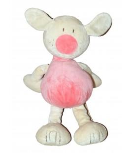 Doudou peluche Lapin chien beige rose BABYSUN Baby sun 30 cm - Grelot