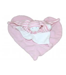 Doudou plat Lutin poupée rose Coeur MOULIN ROTY