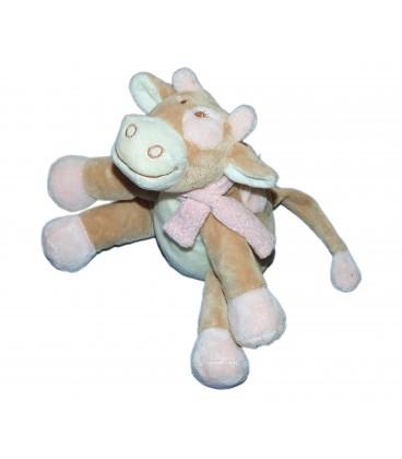 Doudou peluche musicale Vache beige rose blanc Lola NOUKIES 20 cm