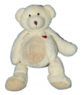 Doudou OURS beige NICOTOY - H 22 cm - Coeur rouge