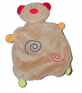 Doudou plat - OURS marron clair beige rouge Spirales BABY CLUB C et A