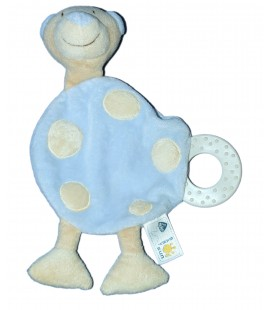 Doudou plat OURS bleu beige BABYSUN Baby Sun - Anneau dentition
