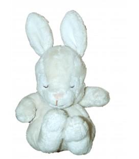 Doudou Lapin blanc crème écru Lapereau yeux dormeurs - H et M H M - H 19 cm - Sleepy rabbit