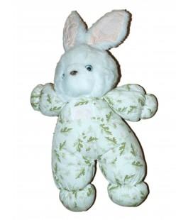 Doudou Peluche LAPIN blanc tissu imprimé chène - TARTINE ET CHOCOLAT - H 30 cm