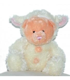 Peluche doudou OURS rose déguisé en Mouton - PEEKO - H 24 cm