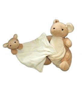 Doudou Kangourou et son bebe Mouchoir Nature et Decouvertes 24 cm