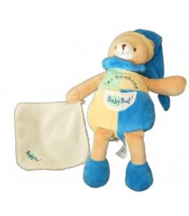 Doudou OURS bleu jaune Mouchoir Les Bonbons BABY NAT' Babynat - H 26 cm