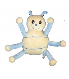 Peluche doudou Coccinelle bleue jaune clair - Arthur et Lola - Gingo Biloba - 24 cm - Grelot