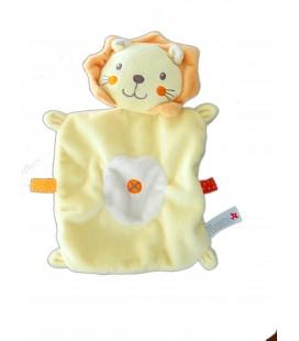 Doudou plat lion jaune orange NICOTOY Croix Etiquettes oranges