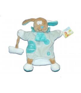 DOUDOU ET COMPAGNIE - Marionnette Chien bleu turquoise menthe avec son os