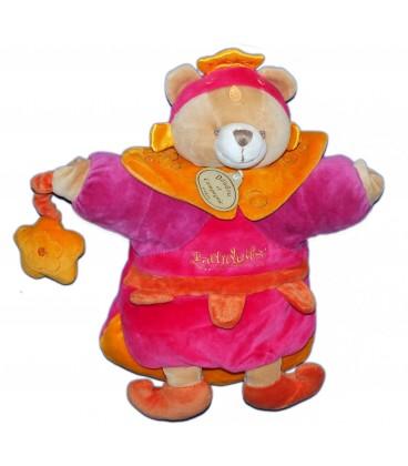 DOUDOU ET COMPAGNIE - Marionnette Ours Indidous - Rose Fushia Mauve - 26 cm