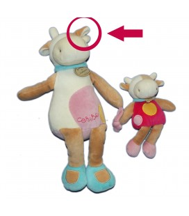 DOUDOU ET COMPAGNIE - Vache rose beige blanche - Cerise - Et son bébé H 30 cm *VOIR DESCRIPTION