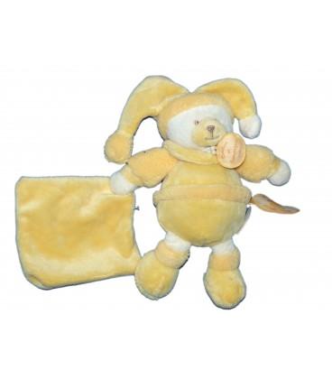 DOUDOU ET COMPAGNIE - Doudou OURS jaune Douceur Macaron Pantin Peluche - H 18 cm