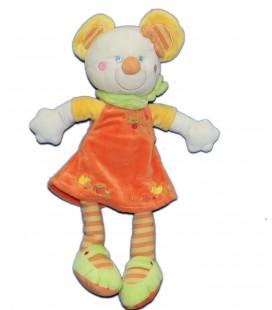 Doudou souris Robe orange Foulard vert - H 34 cm - MOTS D'ENFANTS - 7016