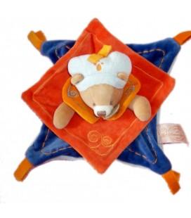 DOUDOU ET COMPAGNIE OURS plat Indidous orange bleu 7022